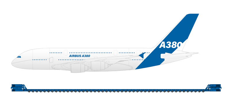 In perspective: An Airbus A 380 compared to one of the self-propelled K 25 SP combinations in use during the TCO project.